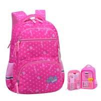 Girls Backpacks for Elementary, Polk Dots School Bag for Kids Primary Bookbags (Girls Backpacks for Elementary Rose, Large for Grade 3-6)