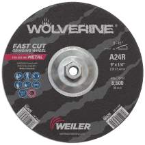 "Weiler 56470 9"" x 1/4"" Wolverine Type 27 Grinding Wheel, A24R, 5/8""-11 UNC Nut (Pack of 10)"