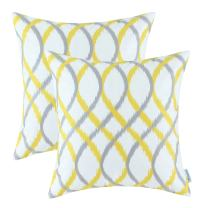 CaliTime Pack of 2 Cozy Fleece Throw Pillow Cases Covers for Couch Bed Sofa Modern Two-Tone Waves Geometric 20 X 20 Inches Gray Yellow