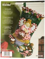 Bucilla 18-Inch Christmas Stocking Felt Applique Kit, 86207 Cupcake Angel