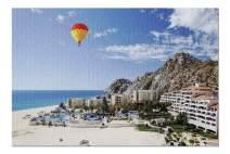 Cabo San Lucas, Mexico - Condos on Beach & Hot Air Balloon 9010138 (19x27 Premium 1000 Piece Jigsaw Puzzle, Made in USA!)