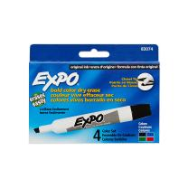 EXPO Original Dry Erase Markers, Chisel Tip, Assorted Colors, 4 Pack