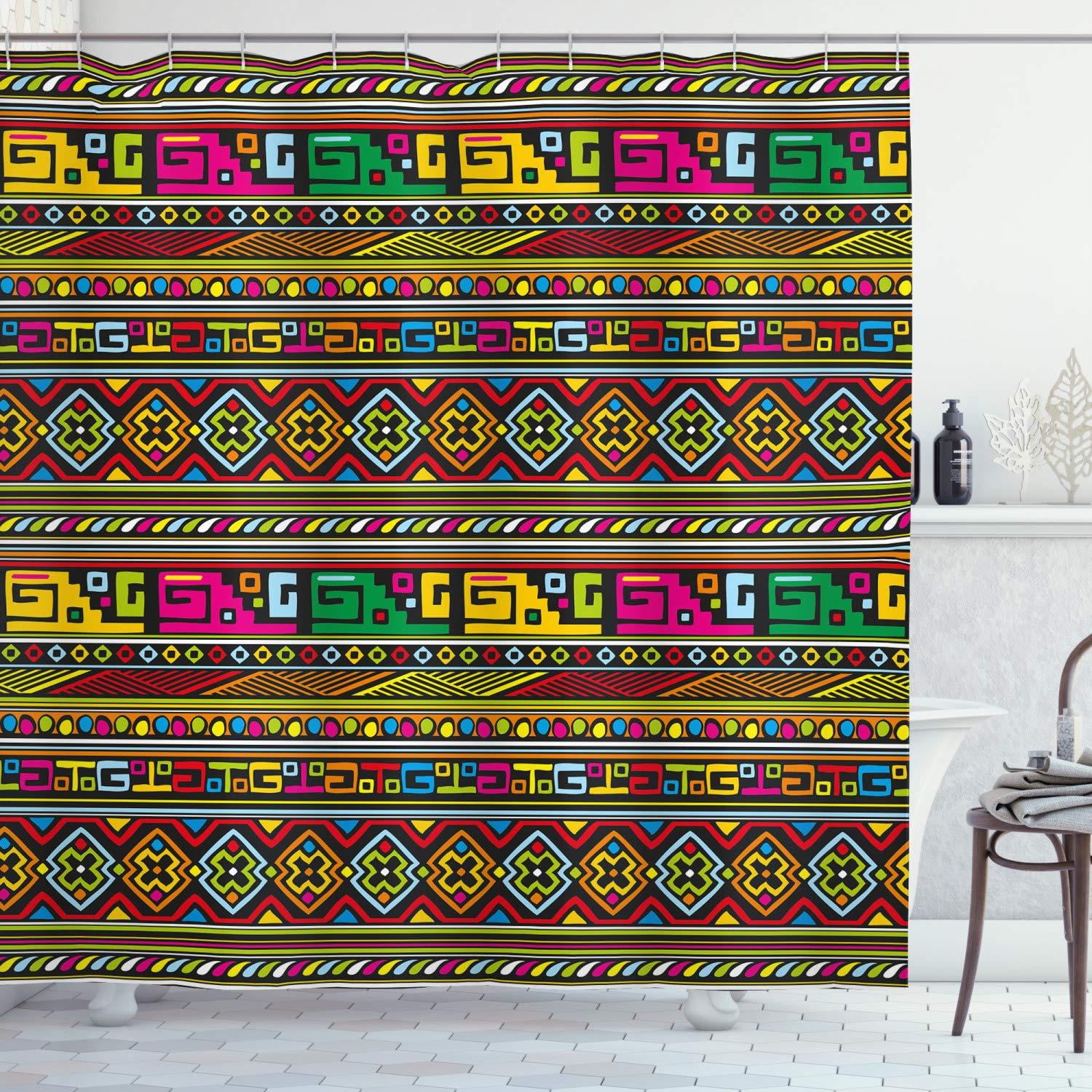 """Ambesonne Tribal Shower Curtain, Design with Colorful Geometrical Details Borders Vector Themed Print, Cloth Fabric Bathroom Decor Set with Hooks, 84"""" Long Extra, Pastel Rainbow"""