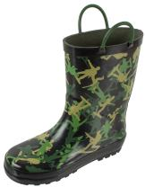Rainbow Daze Rain Boots for Kids,Printed All Weather Boots,100% Rubber Boots with Handles,Toddler Size 7 to Kids Size 3