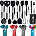 ORBLUE Silicone Cooking Utensil Set, 14-Piece Kitchen Utensils with Holder, Safe Food-Grade Silicone Heads and Stainless Steel Handles with Heat-Proof Silicone Handle Covers, Black