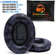 WC Premium Replacement Ear Pads for Bose Headphones Made by Wicked Cushions - Supreme Comfort - Compatible with QC35 & 35ii / QC25 / QC15 / QC2 / AE2 / AE2i / AE2W - Extra Durable (Black Camo)