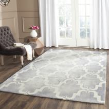 Safavieh Dip Dye Collection DDY536C Handmade Geometric Watercolor Grey and Ivory Wool Area Rug (9' x 12')