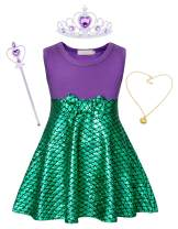 Cotrio Mermaid Dress Princess Dresses Toddler Kids Halloween Costumes Outfits with Accessories Crown Scepter Necklace Size 10 (6-7 Years, Purple+Green, 140)
