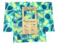 Meli Wraps Beeswax Wraps - Reusable Food Wrap Alternative to Plastic Wrap. Certified Organic Cotton, Naturally Antibacterial. 3-Pack includes sizes (SML) in Lau Print