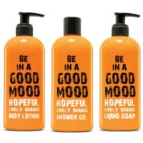 BE IN A GOOD MOOD 3-in-1 Body Care Set | Contains 1 Liquid Soap, 1 Body Lotion & 1 Shower Gel | Lotion & Body Wash Items Packed in 400-ml Bottles | For Home & Travel Use | Skin Care (Lively Orange)