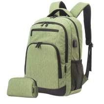 Travel Laptop Business Backpack, Anti Theft Water Resistant School Computer Bagpack Gifts for Men & Women,Fits 15.6 Inch Notebook with USB Charging Port Bonus a Small pencil Case, Grass green