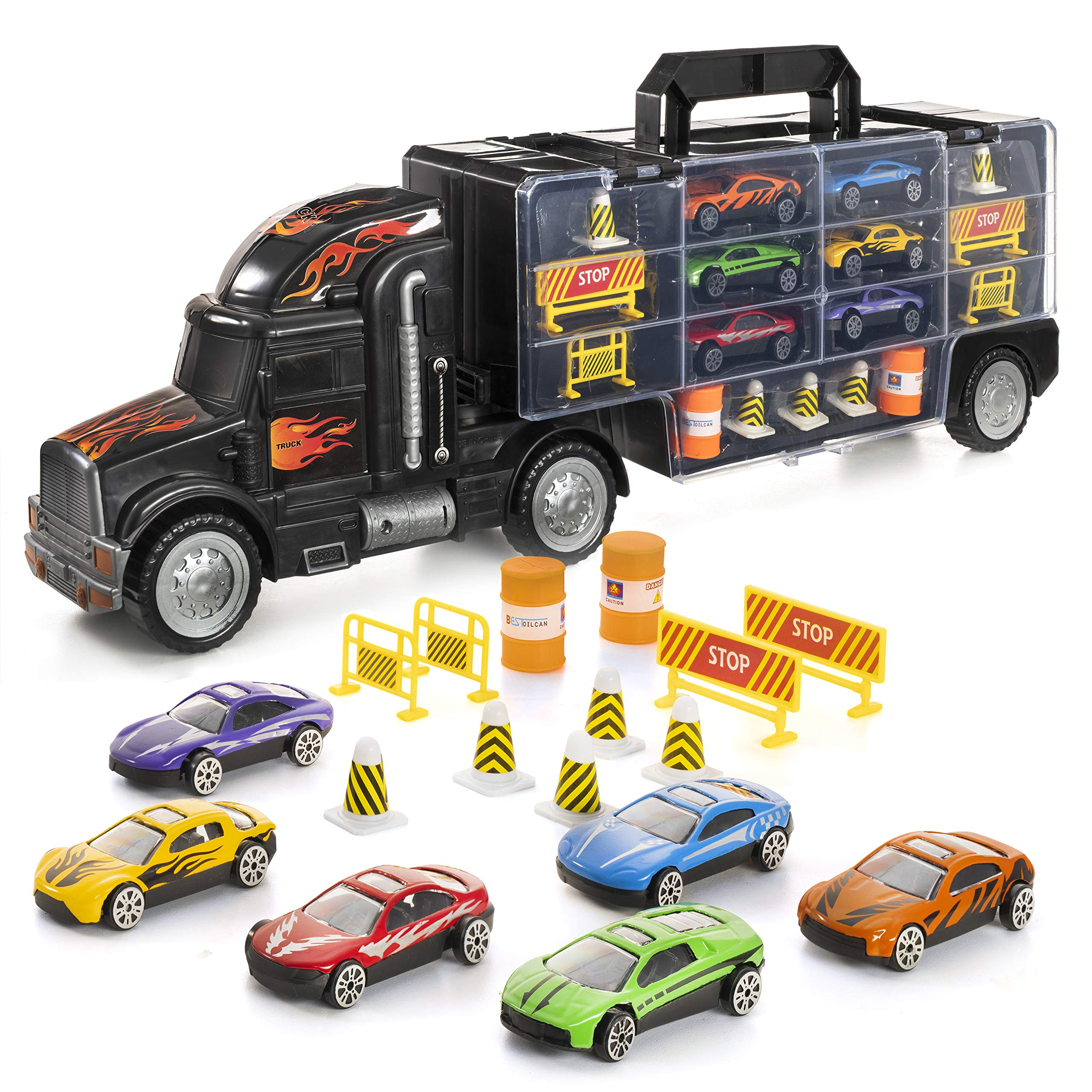 Prextex 19'' Car Carrier Toy Truck with 6 Toy Cars and Road Block Accessories - Toy Vehicle Transporter for Boys and Toddlers