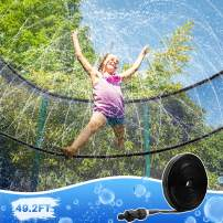LOFTER Trampoline Sprinkler, Outdoor Water Play Sprinklers for Kids, Trampoline Waterpark Accessories, Fun Summer Backyard Party Water Game Toys for Boys Girls (49.2 ft)