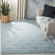 Safavieh Dhurries Collection DHU625A Hand Woven Blue and Ivory Premium Wool Area Rug (6' x 9')