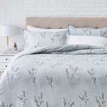 Amazonbasics 300TC 100% Cotton Comforter Set, Reversible 3-piece, Super Soft - Full/Queen, Blue Twigs