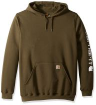 Carhartt Men's Big & Tall Mw Signature Sleeve Logo Hooded Sweatshirt K288