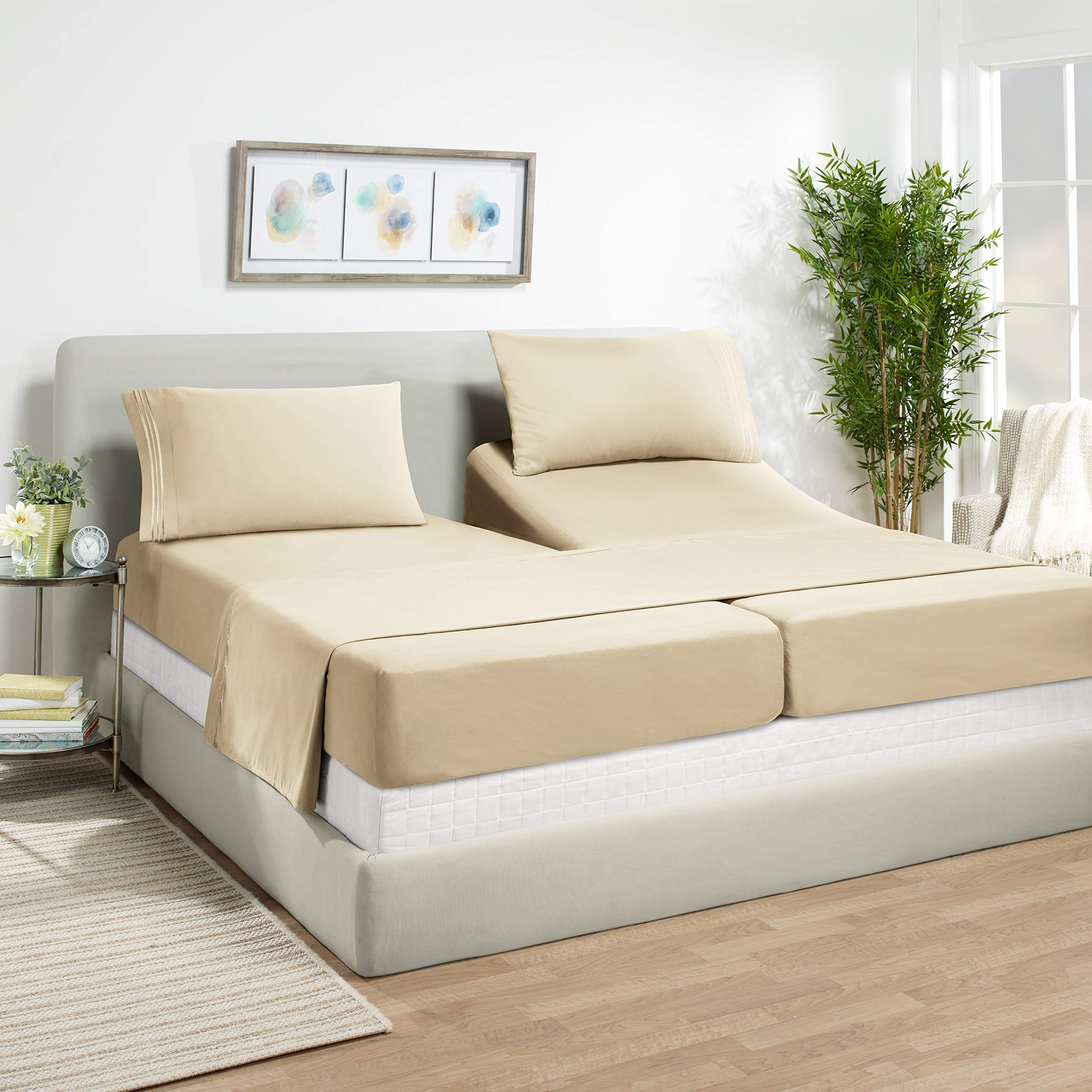 """Empyrean Bedding 14"""" - 16"""" Deep Pocket Fitted Sheet 5 Piece Set - Super Soft Double Brushed Microfiber Top Sheet - Wrinkle Free 2 Fitted Bed Sheets, 1 Flat Sheet and 2 Pillow Cases - Split King, Beige"""