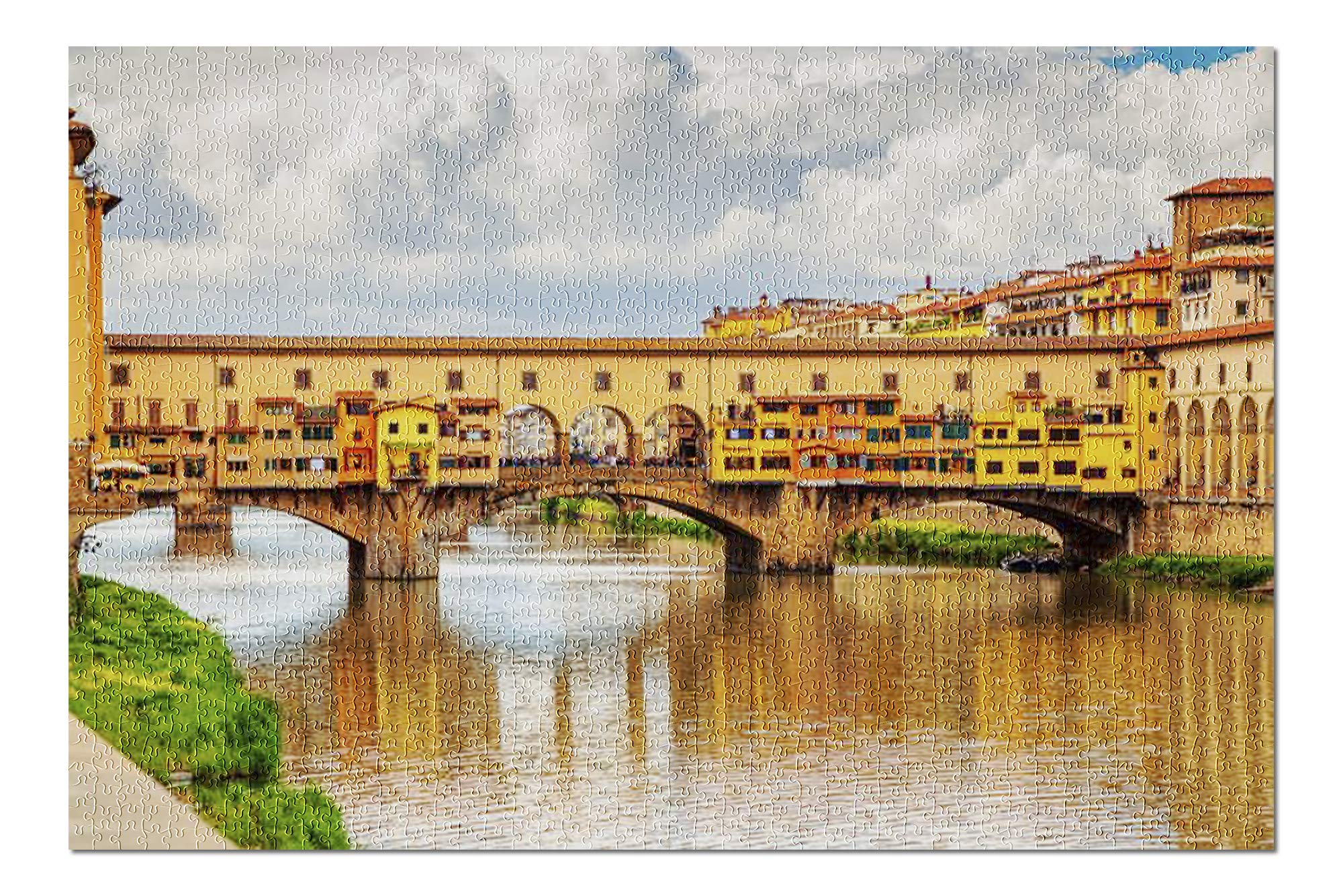 View of Medieval Stone Bridge Ponte Vecchio Over Arno River in Florence, Tuscany, Italy 9019985 (Premium 1000 Piece Jigsaw Puzzle for Adults, 20x30, Made in USA!)