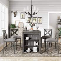 LZ LEISURE ZONE Dining Table Sets, Kitchen Table Set, Counter Height Table Sets with Storage Shelf, Dining Room Furniture (Table with 4 Chairs)