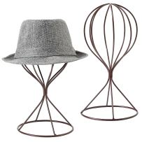 MyGift Set of 2 Modern Wire Design Brown Metal Hat and Cap Rack Display Stand/Dresser Top Decorative Wig Holders