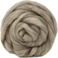 Wool Roving Hand Dyed. Super Soft BFL Combed Top Pre-Drafted for Easy Hand Spinning. Artisanal Craft Fiber ideal for Felting, Weaving, Wall Hangings and Embellishments. 1 Ounce. Sand