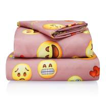 "Chital Full Bed Sheets for Girls | 4 Pc Colorful Kids Bedding Set | Pink Emoji Print | Durable Super-Soft, Double-Brushed Microfiber | 1 Flat & 1 Fitted Sheet, 2 Pillow Cases | 15"" Deep"