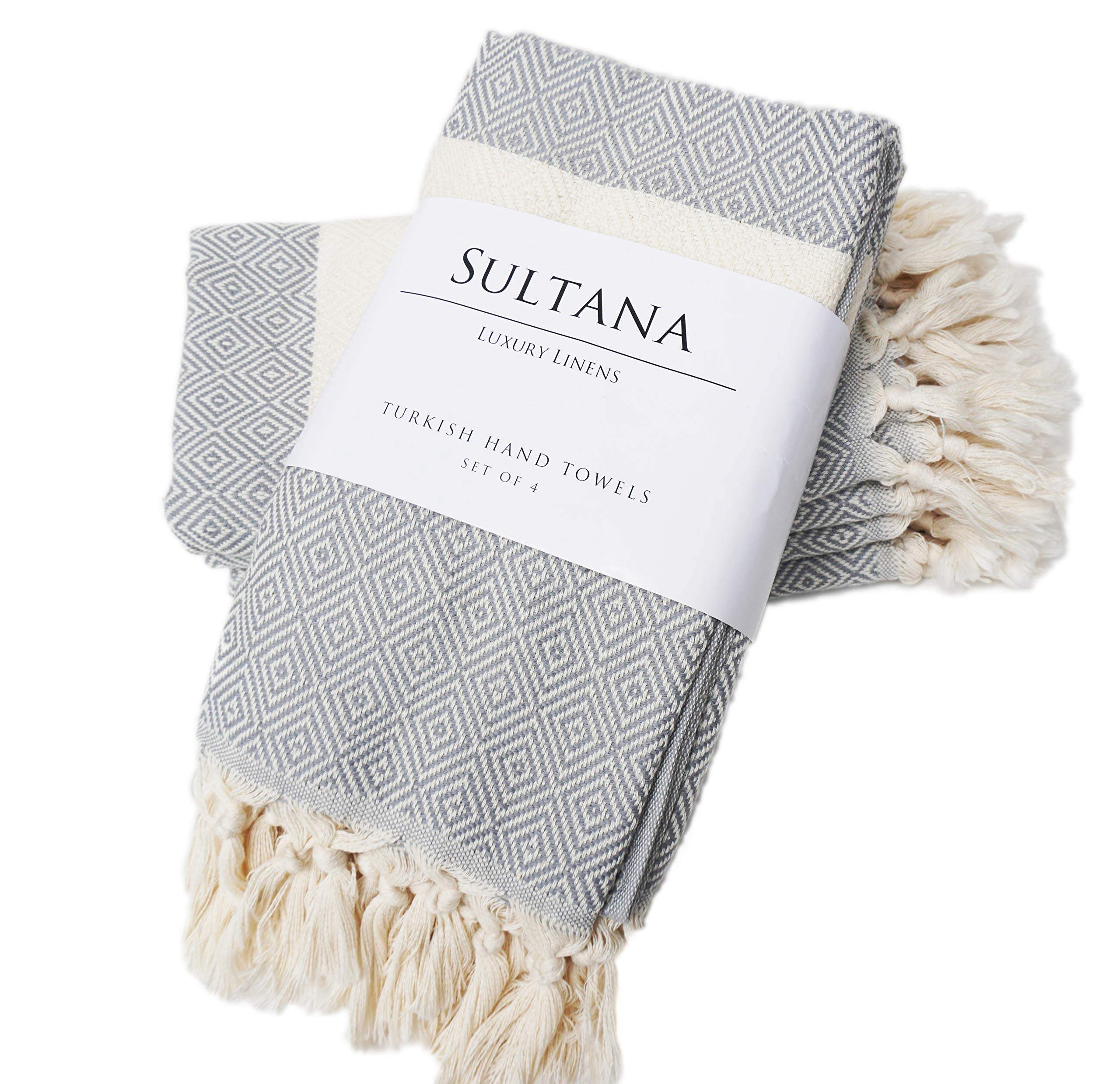 Sultana Luxury Linens - Turkish Hand Towels (Set of 4) | 100% Cotton | Eco-Friendly | Quick Dry | Hand, Tea, Kitchen, Hair, Spa, Face, Bath, Dish | Decorative Bathroom Towel | Peshkirs (Grey)