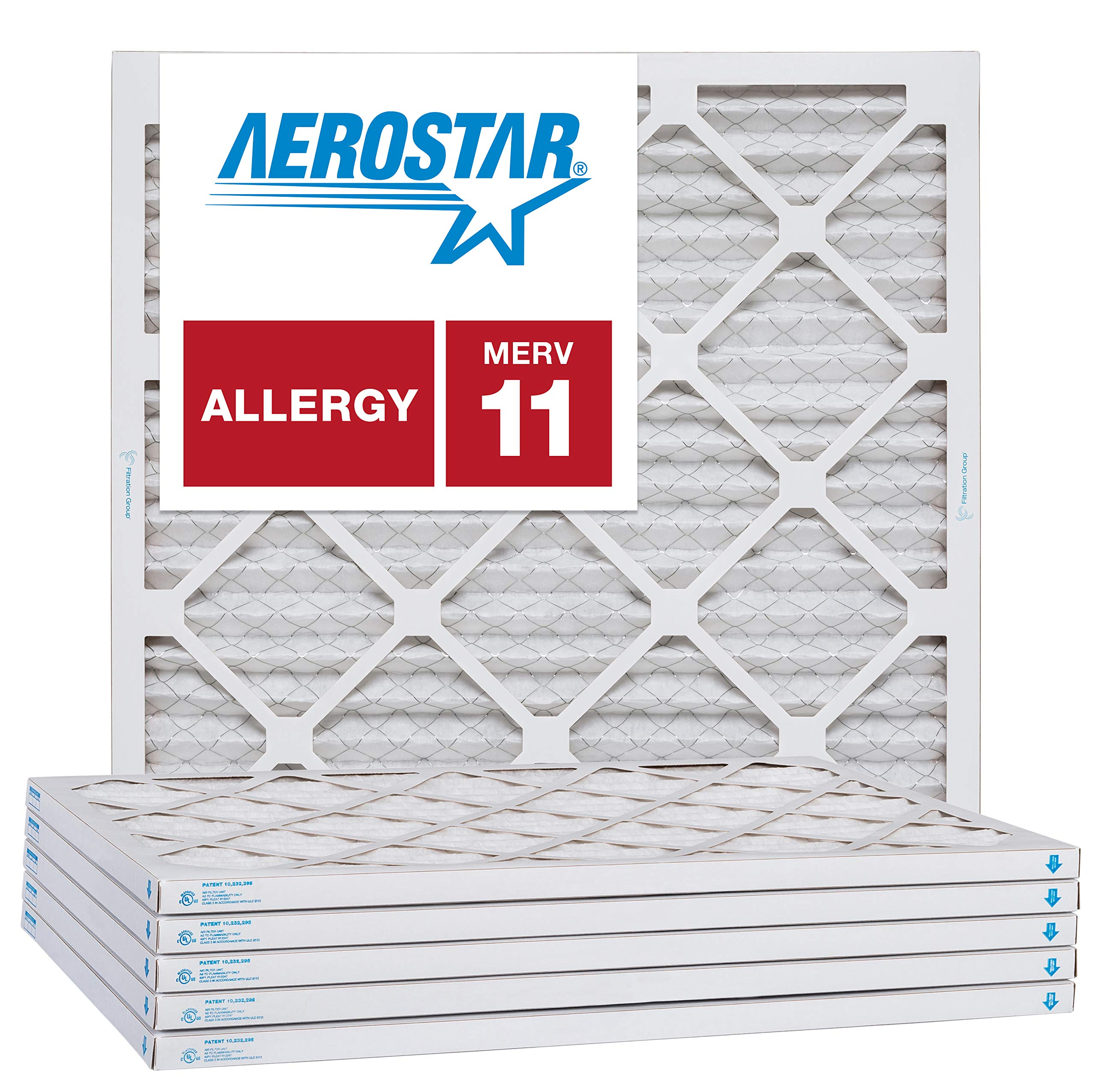 Aerostar 21 1/4x21 1/4x1 MERV 11, Pleated Air Filter, 21 1/4 x 21 1/4 x 1, Box of 6, Made in The USA