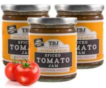 TBJ Gourmet Spiced Tomato Jam - Spicy Tomato Jam - Spicy Tomato Ketchup Alternative - Sweet, Savory & Spicy Tomato Spread & Jam Preserves - Vegan, Gluten Free Jam - 3 x 9 Ounces