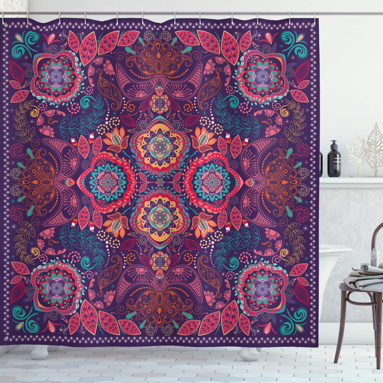 """Ambesonne Paisley Shower Curtain, Modern Classic Design with Dots Leaves and Flowers Print, Cloth Fabric Bathroom Decor Set with Hooks, 84"""" Long Extra, Blue Fuchsia"""