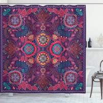 """Ambesonne Paisley Shower Curtain, Modern Classic Design with Dots Leaves and Flowers Print, Cloth Fabric Bathroom Decor Set with Hooks, 75"""" Long, Blue Fuchsia"""
