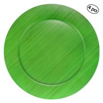 "BambooMN 13"" Dia Green Bamboo Reusable Dinnerware Charger Round Plates for Catered Events, Holidays, or Home Use Supplies, 4 Pcs"
