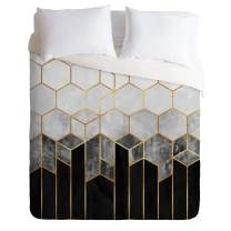 Society6 Elisabeth Fredriksson Charcoal Hexagons Comforter Set, Full/Queen, Black and White