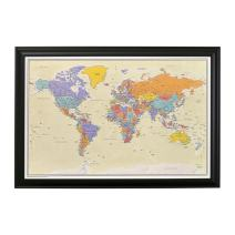 Push Pin Travel Maps with Black Frame and Pins - 27.5 inches x 39.5 inches - Tan Oceans