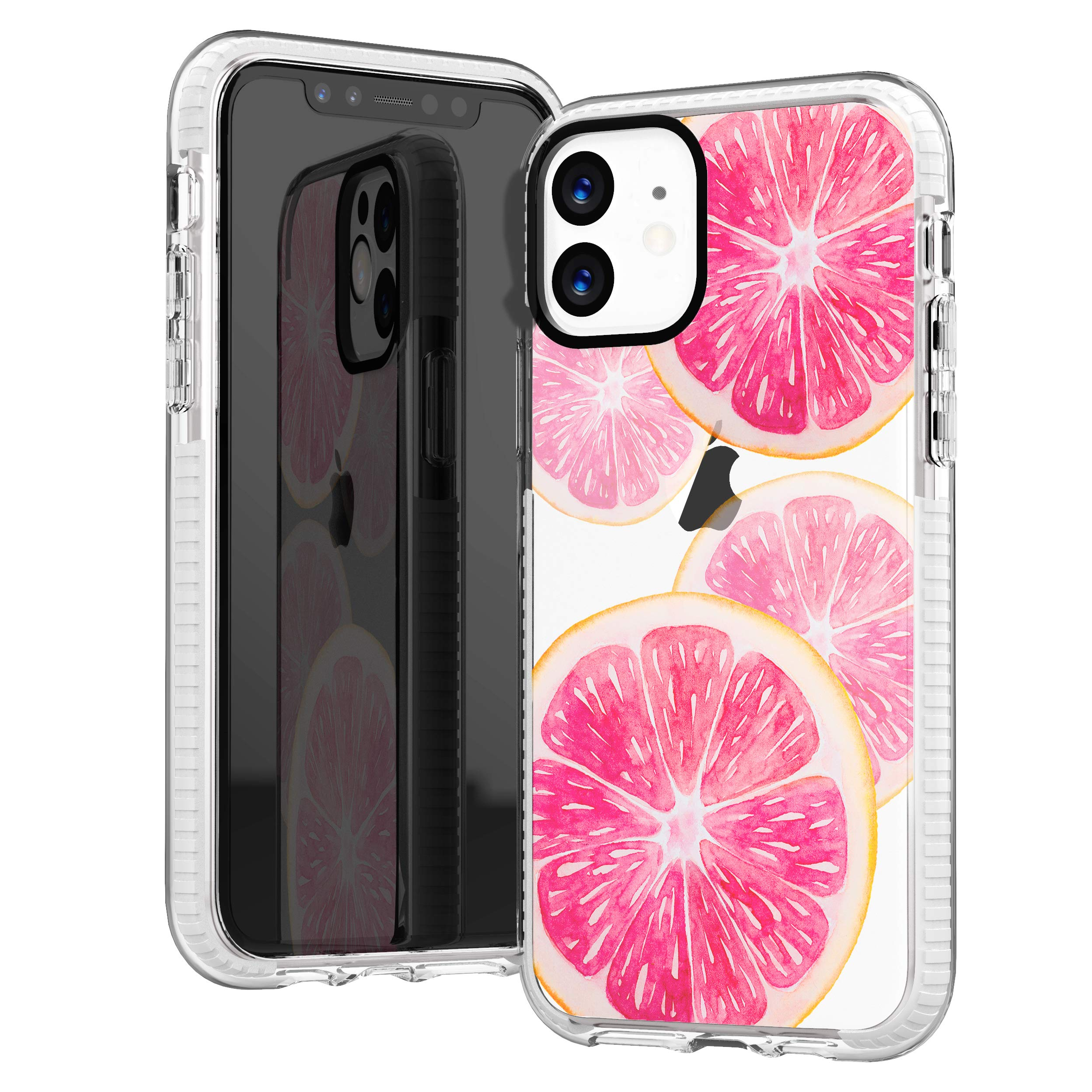 iPhone 11 Case,Funny Pink Peach Sweet Fruits Orange Grapefruits Aloha Summer Tropical Beach Trendy Cute Girl Women Beach Chic Girlly Soft Protective Clear Case with Design Compatible for iPhone 11