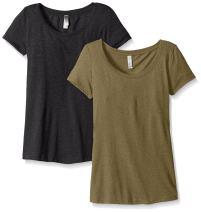 Clementine Apparel Women's Petite Plus Tri-Blend Scoop Neck Tee (Pack of 2)