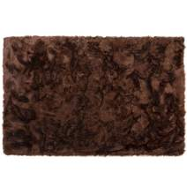 Silky Super Soft Brown Faux Sheepskin Shag Area Rug Machine Washable - Great for Photography or Bedroom Decor- Get The Real Look Without Harming Animals (6 feet x 9 feet Rectangle)