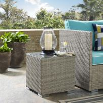 Modway Repose Wicker Rattan Glass Outdoor Patio Side End Table in Light Gray