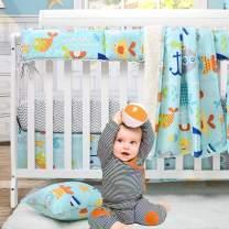 Brandream Baby Boy Bedding Set Nautical Ocean Blue Nursery Crib Bedding Set, 4 Pieces, Cartoon Whales Anchors Print