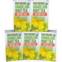 Dandelion Root Tea Detox Tea - Raw Organic Vitamin Rich Digestive - 5 Pack (100 Bags, 2g Each) - Helps Improve Digestion and Immune System - Anti-inflammatory and Antioxidant