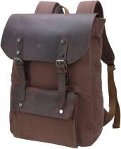 Iswee Vintage Laptop Backpack for Women Men, School College Backpack Rucksack Satchel Bookbag Large (Coffee-05)