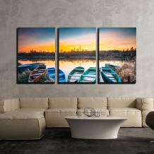 """wall26 - 3 Piece Canvas Wall Art - Lake, River and Rowing Fishing Boat at Beautiful Sunrise in Autumn Morning - Modern Home Decor Stretched and Framed Ready to Hang - 24""""x36""""x3 Panels"""