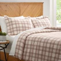 Amazon Brand – Stone & Beam Rustic Plaid Flannel Duvet Cover Set, Twin, Ivory and Cream