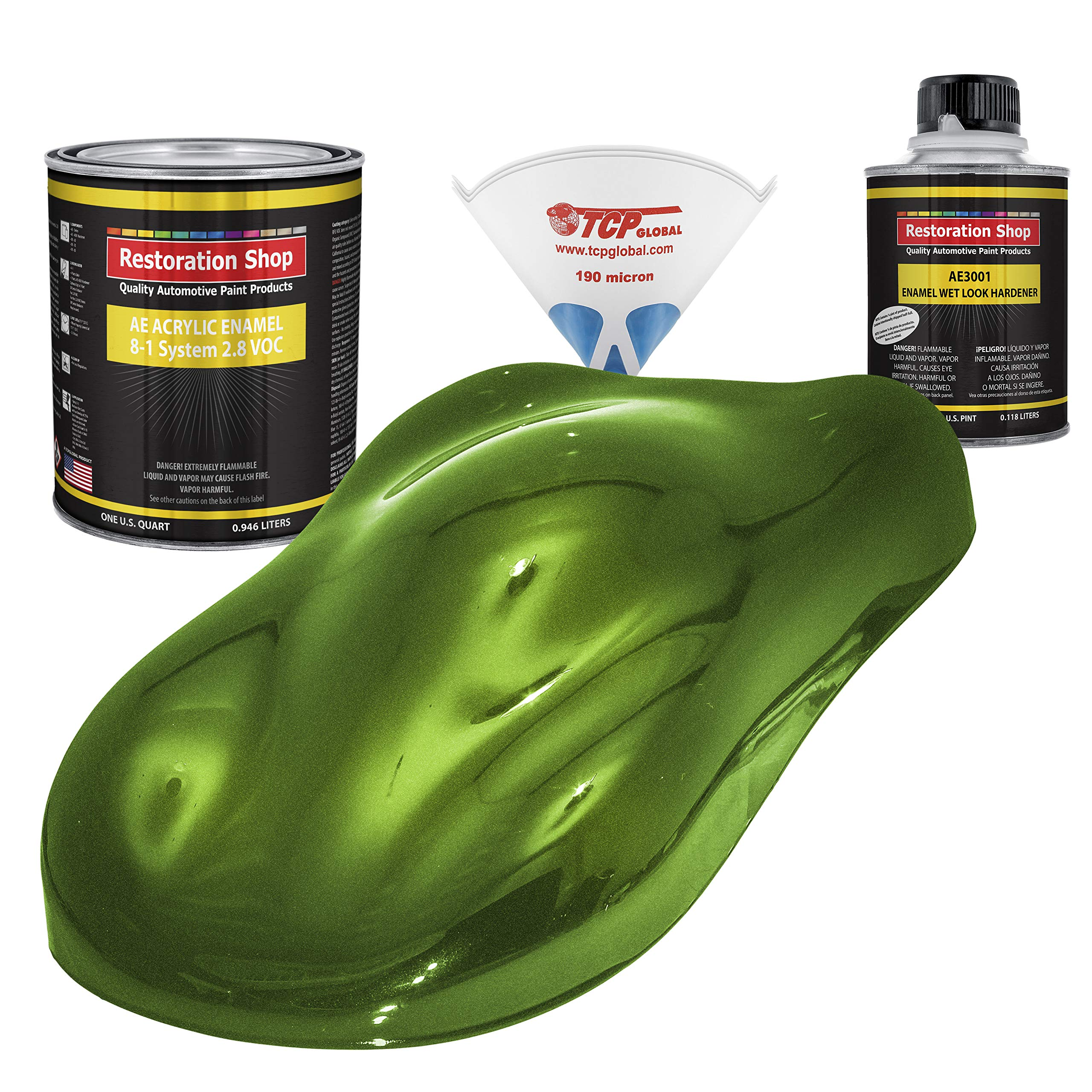 Restoration Shop - Synergy Green Metallic Acrylic Enamel Auto Paint - Complete Quart Paint Kit - Professional Single Stage High Gloss Automotive, Car, Truck, Equipment Coating, 8:1 Mix Ratio, 2.8 VOC