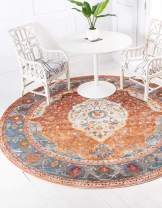 Unique Loom Baracoa Collection Bright Tones Vintage Traditional Rust Red Round Rug (8' 4 x 8' 4)