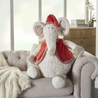 "Mina Victory Plushlines Plush Holiday Elephant Ivory Throw Pillow 1'10"" x 2'2"""