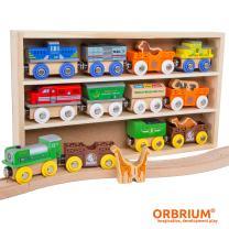 Orbrium Toys 12 (18 Pcs) Wooden Engines & Train Cars Collection with Animals, Farm Safari Zoo Wooden Animal Train Cars, Circus Wooden Train Compatible with Thomas, Brio, Chuggington