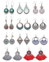 Adramata 11 Pairs Bohemian Vintage Drop Earrings for Women Geometric Dangle Hollow Pendant Earrings Set