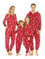 Ekouaer Family Matching Onesie Pajamas Christmas One Piece Fleece PJS Jumpsuit Parent-Child Hoodie Zipper Sleepwear