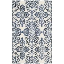 Safavieh Dip Dye Collection DDY719P Handmade Geometric Medallion Watercolor Ivory and Navy Wool Area Rug (3' x 5')